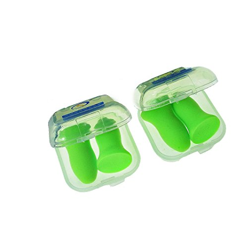 Top Reusable Comfortable Earplugs,Polyurethance Memory Foam,Ear Shield 48.4dB Highest NRR for Sleeping, Travel, Work Hearing Protection(Green,2Pairs,Medium)