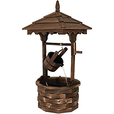 "Sunnydaze Old-Fashioned Wooden Wishing Well Water Fountain - Outdoor Garden Fountain Waterfall Feature - 48 Inch Tall - ADD RUSTIC DESIGN TO YOUR LANDSCAPE: Add a classic touch to your patio, backyard, deck, or front porch with this gorgeous rustic water fountain. Measures 21"" length x 22.75"" width x 48"" height and weighs 20.6 pounds to ensure it is sturdy enough so it won't tip over outside. NATURAL WOOD CONSTRUCTION THAT'S BUILT TO LAST: Made of natural fir with durable inner plastic liner built in the well and bucket, this outdoor wishing well will provide you with many years of beauty and performance. When moving, carefully lift from bottom to prevent wood from cracking. PEACEFUL WATER SOUNDS: Relax and enjoy the soothing sounds the wood water fountain creates as water gracefully pours from the bucket down into the wishing well. - patio, outdoor-decor, fountains - 41CD 1R5zUL. SS400  -"