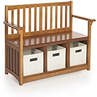 Guidecraft Mission Storage Bench with Bins - Home Décor Furniture