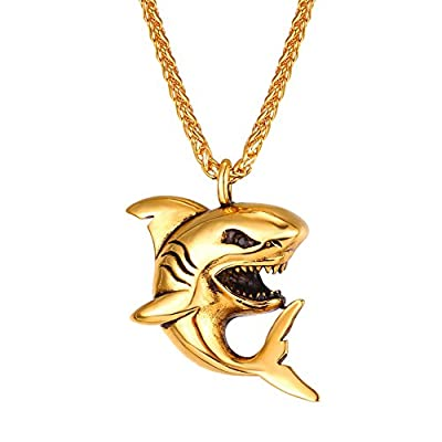 U7 Shark Pendant Animal Jewelry Stainless Steel/Gold/Black Gun Plated/925 Sterling Silver Chain