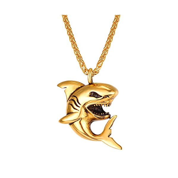 U7 Shark/Fish/Dolphin Pendant Animal Jewelry Men Boys Necklace with Stainless Steel/Gold/Black Gun Plated/925 Sterling Silver Chain