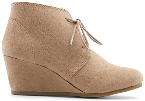 (MARCOREPUBLIC Galaxy Girls Kids Childrens Wedge Boots - (Taupe) - Big Kid 4)