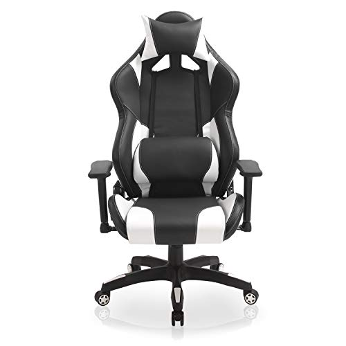 E-Sports Gaming Computer Chair- Larger Size Ergonomic Swivel Racing Reclining High Back Office Chair with 3D Armrests, Adjustable Headrest and Lumbar Support, Big and Tall 300lb White