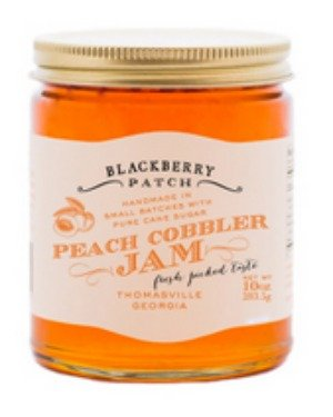 Peach Cobbler Jam - Blackberry Patch 10 oz Jar - Gourmet All Natural, Whole Peach Authentic Flavor, Homemade in Small Batches, Old Fashioned, replace jelly or preserves.