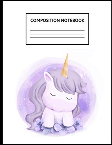 Composition Notebook: Wide Ruled Paper Notebook Journal | Cute Wide Blank Lined Workbook for Teens Kids Students Girls for Home School College Writing ... Unicorn Feel Sleepy | 8.5 x 11, 110 pages