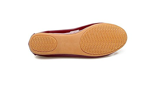 Slip Flats Ballet Foldable Shoes Womens Flat Red Soft Toe Pointed Rhinestone Comfort on CIXC8qwxd