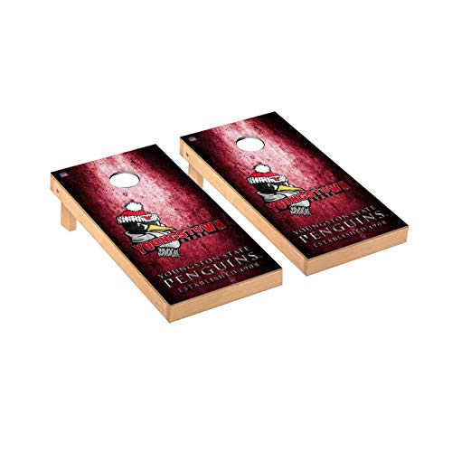 (Victory Tailgate Regulation Collegiate NCAA Museum Series Cornhole Board Set - 2 Boards, 8 Bags - Youngstown State Penguins)