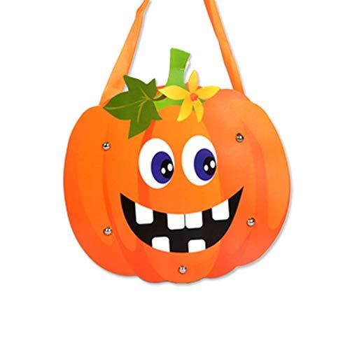 Hemore 1pcs Pumpkin Pieces Halloween Candy Totes Gift Bag Children's DIY Paper Halloween Trick Treat Bag Halloween Costume Party ()
