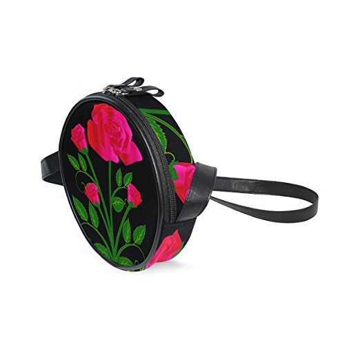 AHOMY Rose Flower Bouquet Trendy Kids Girls' Round Purse Cross Body Bag (Bouquets Trendy)