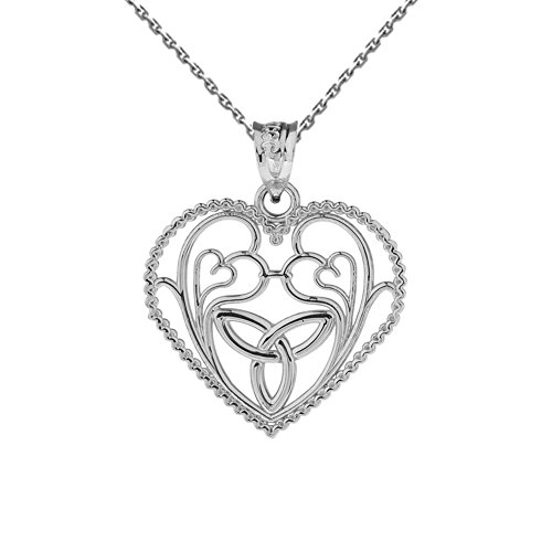 Unique 10k White Gold Heart Design Trinity Knot and Hearts Pendant Necklace, - Gold White Trinity Pendant Knot
