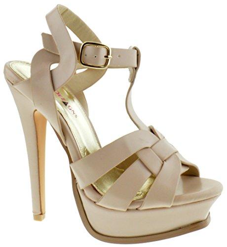Lauren Heels High (Shoe Dezigns Lauren 87 Womens Strappy Square Toe Platform Beige PU 6.5)