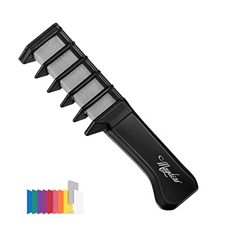 Maydear Temporary Hair Chalk Comb - Non Toxic Hair Color Comb and Safe for Kids (9 Color Options) - Gray