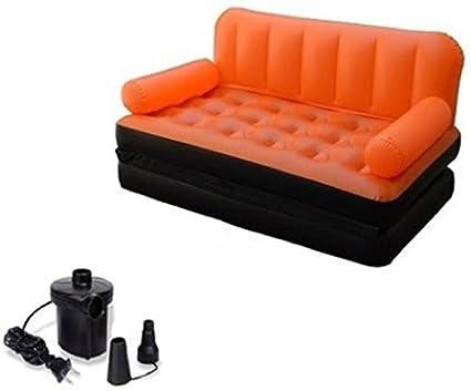 Wondrous Evana 5 In 1 Air Sofa Cum Bed With Pump Lounge Couch Mattress Inflatable 3 Seater Airsofa Orange Machost Co Dining Chair Design Ideas Machostcouk