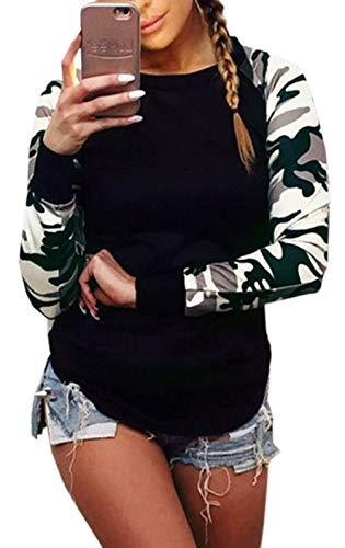 Rond et Tee Printemps Camouflage Chemisier Noir T Sweat Fashion Haut pissure Casual Longues Automne Tops Jumper Col Shirts Blouse Femme Manches Shirts AdxqwSC8d
