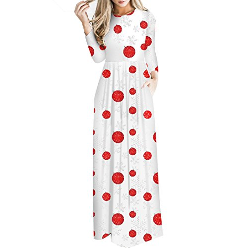 YOUR GALLERY Women's Christmas Jingle Bells Bears Printed Long Sleeve Maxi Dresses,Christmas Balls,L