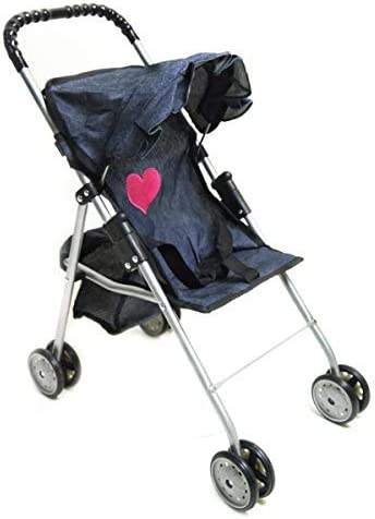 My First Doll Stroller Denim for Baby Doll pink heart on the denim fabric