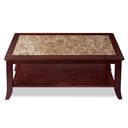 "Olee Be in the arms of Morpheus 18"" Crema Cappuccino Coffee Table / Brown Natural Marble Top / Brown Finish Solid Wood Base"