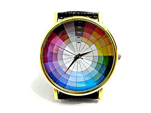 (Color Wheel Watch, Color Wheel Leather Watch, Bracelet Watch, Handmade Watch, Genuine Leather Bracelet Watch P185)