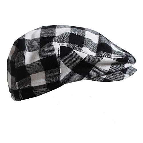- juDanzy Baby & Toddler Plaid Cabbie Hats (1-4 Years, Black & White Buffalo Plaid)