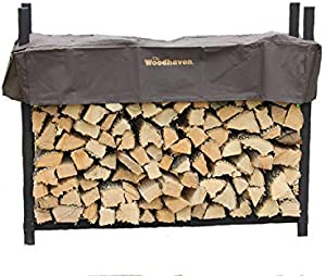 The Woodhaven 5ft Brown Firewood Rack with Cover