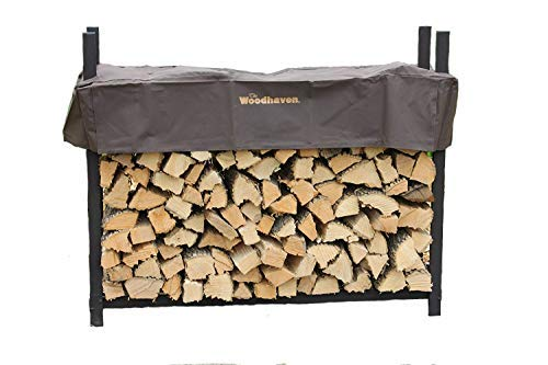 Woodhaven The 5ft Brown Firewood Rack with Cover by Woodhaven
