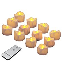 Battery Candles with Remote Flameless LED Tea Lights Realistic and Bright Flickering Electric Votive Candles for Seasonal & Festival Celebration, Pack of 12, Warm Yellow