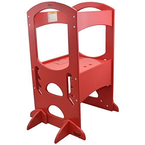 Learning Tower Kids Adjustable Height Kitchen Step Stool with Safety Rail (Red) – Wood Construction, Perfect for Toddlers or Any Little Helper – Quality Learning Furniture from Little Partners