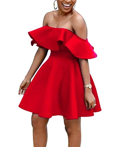 Party Womens Off Shoulder Alion Sexy Dress Red Cocktail Ruffle Skater wOndYggqx