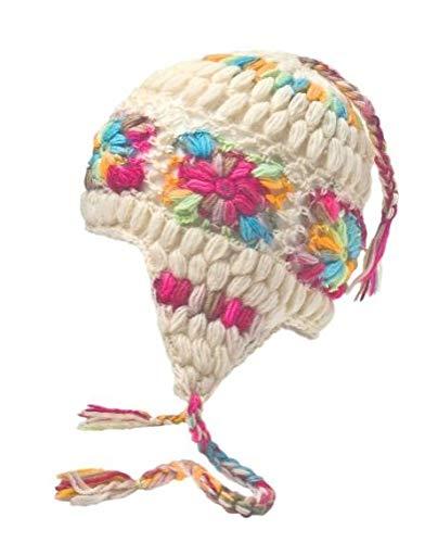Sherpa Designs Hand Knit Unisex WOOL Beanie Hat Ear Flap Fleece Lined Nepal (White with Flowers) - Fleece Lined Flap Hat