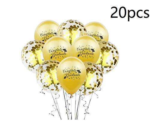 20pcs Congratulation Party Balloons Confetti Balloon Congrats Graduate Balloons for Graduation Party Decor 12inch - E]()