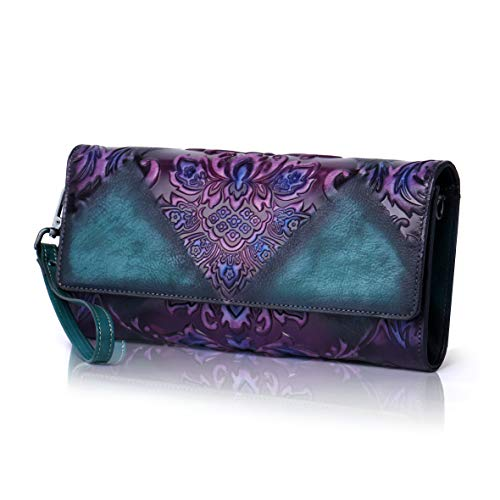 APHISON Chinese Embossed Floral Women's Leather Shoulder Bags Wristlets Wallets