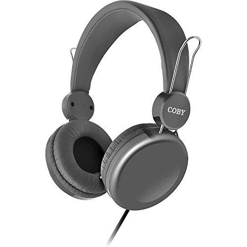 Coby+Cvh-802-Gry+Bass+Boost+Stereo+Headphones+W/Mi