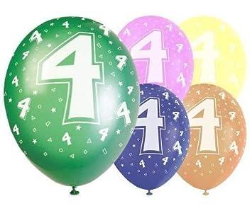 "Age 5//5th Birthday Tropical Assorted Qualatex 11/"" Latex Balloons x 5"