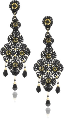 Miguel Ases Onyx and Swarovski Black Lace Beaded Grand Drop Earrings - Miguel Ases Beaded Earrings