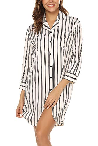 URRU Womens Cotton Nightshirt, Boyfriend Style Above Knee Length Sleepshirt White XL (Nightshirt Cotton)