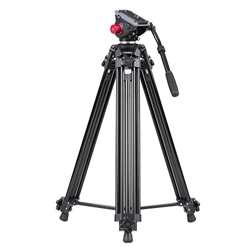 Andoer Camera Tripod, Portable Video Camera Tripod, 71-inch 180cm 90 Degree Pivot Head Professional Fluid Drag Pan Tilt Tripod