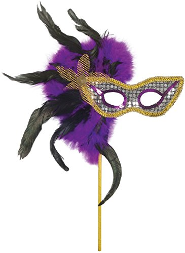 Loftus International Loftus Masquerade Sequin & Feather Mask, Purple Black Gold, One-Size Novelty Item