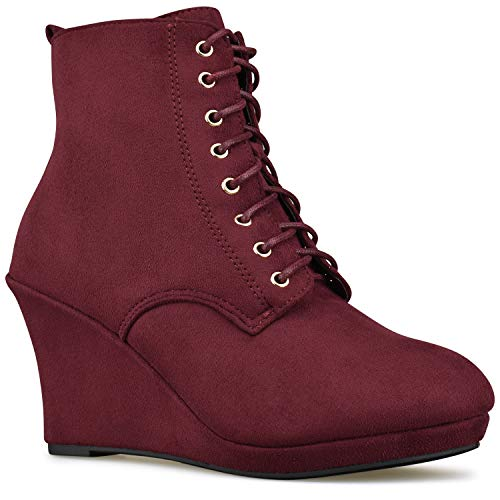 Panel Ankle Women's Side Boot Premier Wine Elastic Closed Bootie Low Toe Standard – Heel Shoe L Casual Walking x5wqqXI
