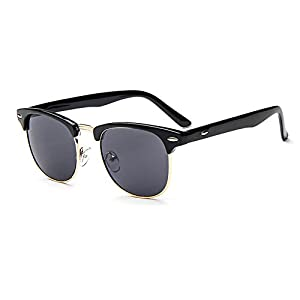 OMIU Classic Half Semi-Rimless Horned Frame Sunglasses for Men Women 100% UV Protection 205