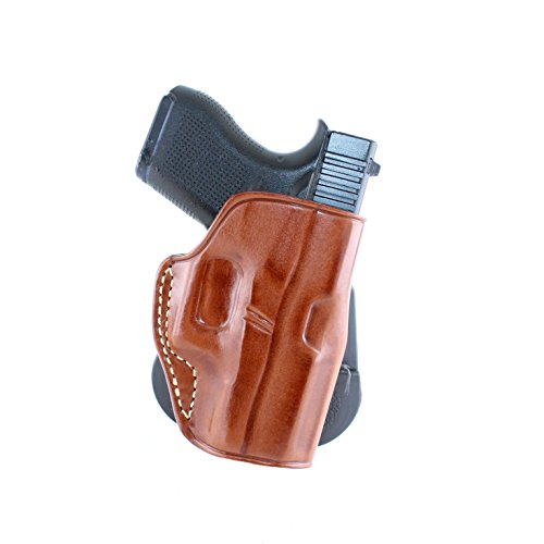 (Premium Leather OWB Paddle Holster with Open Top Fits, Glock 43 Right Hand Draw, Brown Color #1107#)