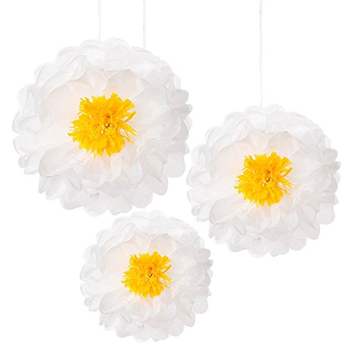 Talking Tables Decadent Decorations Hanging Flower Pom Pom Décor  for a General Decoration, White (3 Pack)