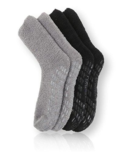 Pembrook Non Skid Socks - Hospital Socks - Fuzzy Slipper Socks - (2-Pack) Black/Gray. Great for adults, men, women. Designed for medical hospital patients but great for everyone