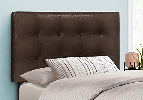 Bedroom Monarch Specialties Button Tufted Upholstered Modern Headboard Panel Height Adjustable, Twin, Dark Brown Leather-Look modern headboards