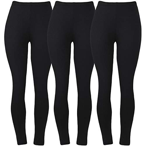 Womens Super Soft Leggings for Ladies Fashion Cute Spandex Seamless Ankle Pants Color Black Size XS S M Pack of 3