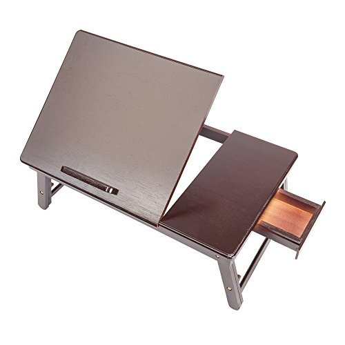 Tenozek Retro Plain Design Adjustable Bamboo Lap Desk Tray Dark Coffee by Tenozek (Image #6)