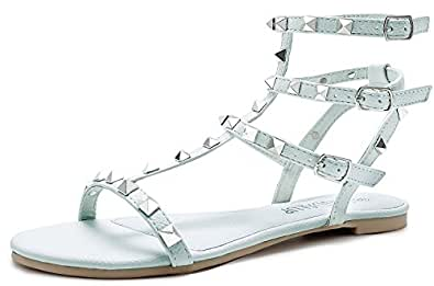 SANDLUP Sparkly Women's Rivet Ankle Straps Flat Sandals Airy Blue Size 05