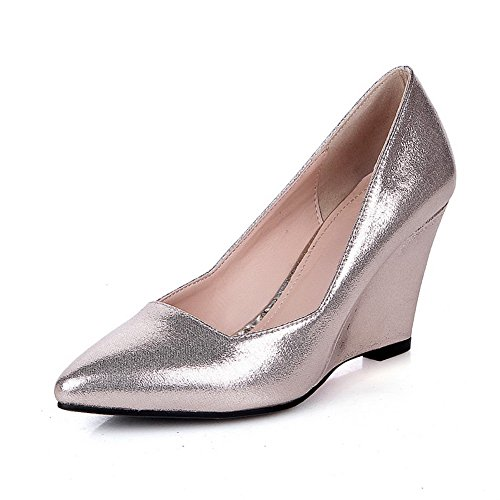 VogueZone009 Women's Pointed Closed Toe Pull On Blend Materials Solid High Heels Pumps-Shoes Gold