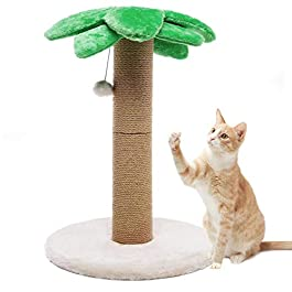 LUCKITTY Small Cat Scratching Posts Kitty Coconut Tree-Cat Scratch Post for Cats and Kittens – Plush and Sisal Scratch Pole Cat Scratcher