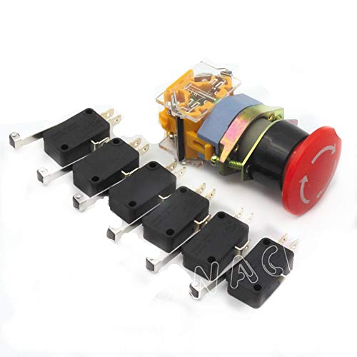 Red Sign Emergency E-Stop 22mm 1 NO 1 NC CNC 6PCS End Stop Limited Micro Switch ()