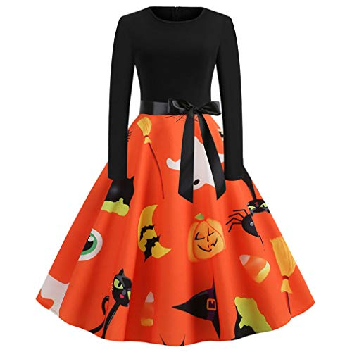 KLFGJ Women Halloween Vintage Dresses Long Sleeve 1950s Costumes Evening Party Prom Lady ()